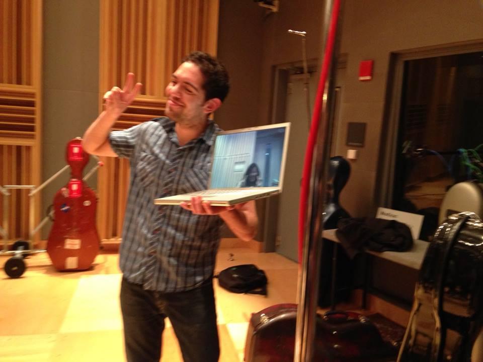 Michael McClure, the VGO's first chair double bass, with Yoko Shimomura on Skype.